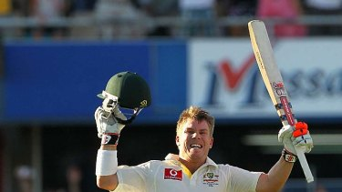 David Warner celebrates his century during day one of the third Test match between Australia and India at WACA.