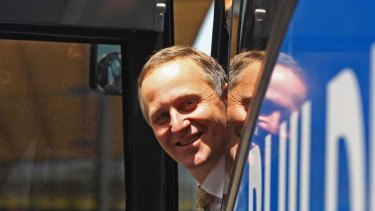 John Key ... on the campaign trail in Auckland.