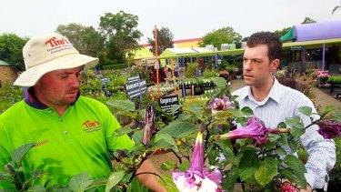 Concerns ... Simon Reid of Tim's Garden Centre with Dr Anthony Kachenko.