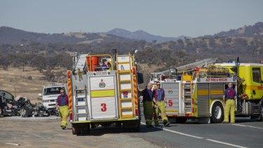 Crash on Monaro Highway injures two young children, traps man