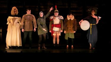 Ray Chong Nee, Johnny Carr, Janine Watson, Richard Piper, Lucy Honigman and Nikki Shiels in Bell Shakespeare's <i>The Dream</i>.