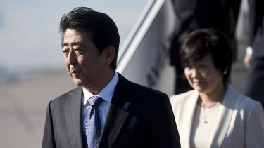 Japanese Prime Minister Shinzo Abe, left and his wife Akie arrive at for a visit to Finland earlier this month.