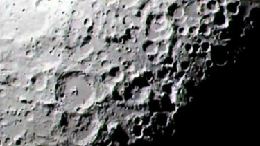 The area of the lunar south pole examined for evidence of water in 2009.