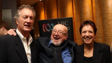 Bryan Brown, Thomas Keneally and Jennifer Byrne at a dinner to honour the author's 50 years in publishing.
