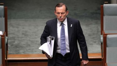 Prime Minister Tony Abbott arrives for Question Time on Tuesday. Photo: Alex Ellinghausen