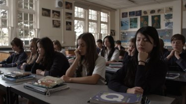 Students take time in class to meditate as part of the Smiling Mind mindfulness program.