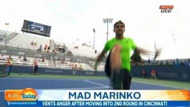 Marinko Matosevic kicks out towards a camera, taken from a TV screengrab.
