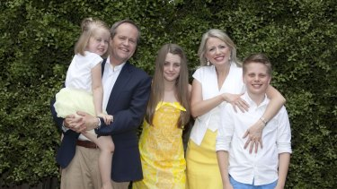 Bill and Chloe Shorten are proud of their blended family, now including Clementine (left), Georgette and Rupert.
