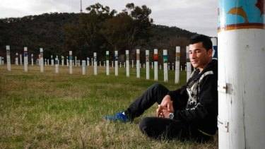 Ejaz Syed, 24 from Quetta, Pakistan, came to Australia by boat in 2011, he stands at the SIEV X (Suspected Illegal Entry Vessel X) memorial at Weston Park, reflecting on the 353 lives that were lost when a refugee vessel sunk in 2001.