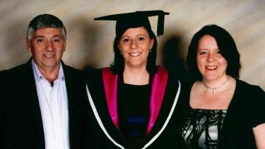 Louise Pallot, with her parents, graduating in 2011 with her bachelor of nursing with distinction. Despite health problems she says she 'never let anything stop me'.