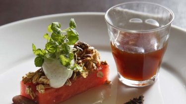 Breakfast degustation ... Le Monde's granola, watermelon and black olive served with Clover Ethiopian Sidamo coffee.