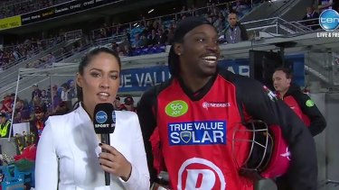 Chris Gayle's with Mel McLaughlin during an interview in January.