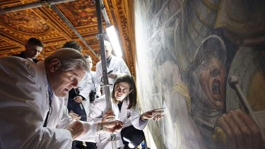 Researchers search for the lost Leonardo da Vinci fresco.