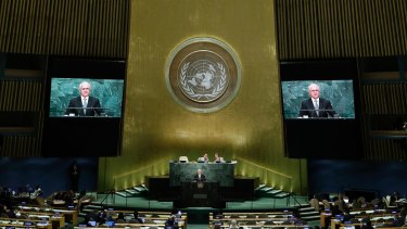Malcolm Turnbull speaks during the 71st session of the United Nations General Assembly.