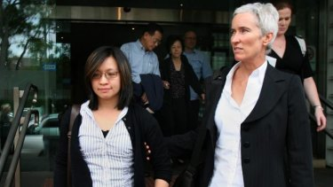 Wife suffers psychological collapse: Thomas Lee's widow Michele Lee leaves the Coroner's Court in Glebe with her lawyer during the inquest in 2008.