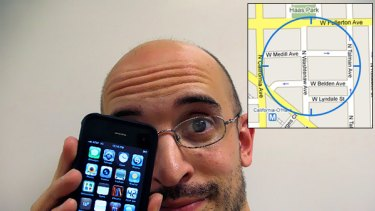 Geek justice ... Kevin Miller and his newly recovered iPhone. Inset: the Google Map screenshot showing the location of the thief.