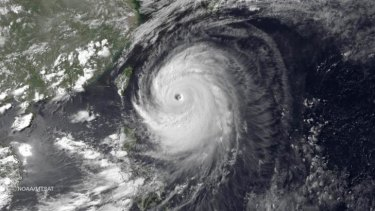 Super Typhoon Neoguri in the Pacific Ocean on its northward journey to Japan and South Korea. The system has been downgraded to a tropical storm.