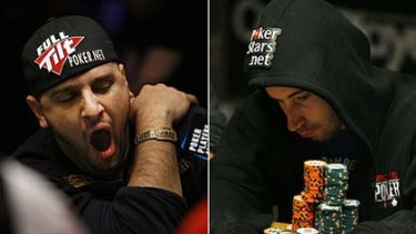 18 hours of play takes its toll ...  Seventh placed Michael Mizrachi of Miami and tournament leader Jonathan Duhamel of Quebec.