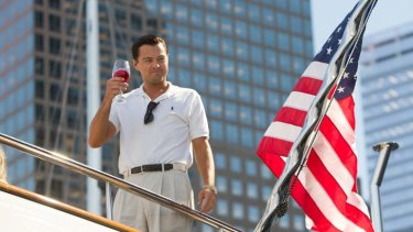 Leonardo DiCaprio plays Jordan Belfort in The Wolf of Wall Street.