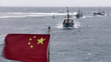 Chinese fishing boats in the South China Sea.