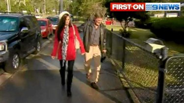 Katie Lewis walks into Ferny Grove Police Station to give a statement about her alleged assault by Ben Te'o.
