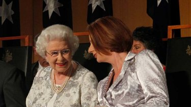 Her Majesty The Queen talks with Prime Minister Julia Gillard.