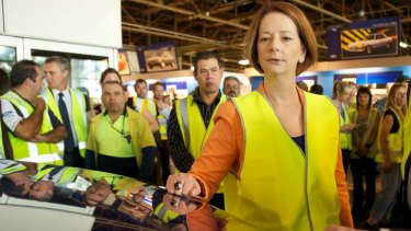Prime Minister Julia Gillard at  Ford's Broadmeadows plant earlier this year.