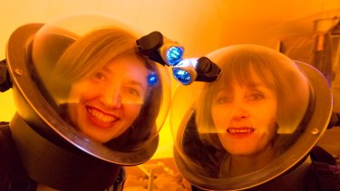 Jasmina Lazendic-Galloway and Tina Overton at the Victorian Space Science Education Centre.