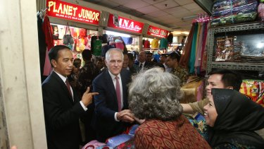 Prime Minister Malcolm Turnbull with Indonesian President Joko Widodo in Jakarta during last week's visit.