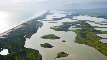 An aerial view of the Choke (north and south lagoon) of the Coorong.