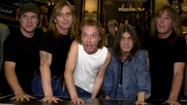 AC/DC band members, from left, Brian Johnson, Phil Rudd, Angus Young, Malcolm Young and Cliff Williams in 2000.