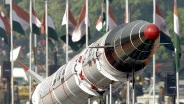 Missile ... the Agni II, a predecessor of India's newest nuclear-capable missile, the Agni V.