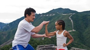 The remake ... Jackie Chan, as Mr Han, puts Jaden Smith's character, Dre Parker, through his paces.