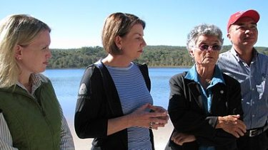 Climate Change and Sustainability Minister Kate Jones, Queensland Premier Anna Bligh and Quandamooka elder Aunty Joan Hendriks at the announcement of the national park zoning on North Stradbroke Island in June.