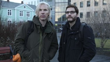 Benedict Cumberbatch as Julian Assange and Daniel Bruhl as Daniel Domscheit-Berg in the movie <i>The Fifth Estate.</I>