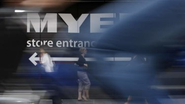 Myer chief Bernie Brookes says shoppers are less interested in spending.