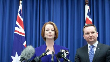 Another strike ... Julia Gillard and Immigration Minister Chris Bowen front the media to discuss the High Court ruling on the asylum seekeer swap deal on Thursday.