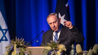 Israeli Prime Minister Benjamin Netanyahu at the International Convention Centre in Sydney on Wednesday.
