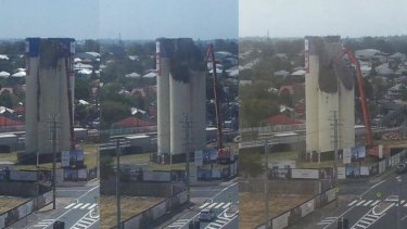 Time lapse of the demolition of the Albion flour mill silos.