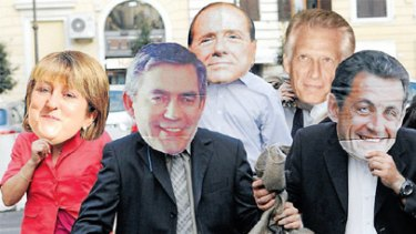 Masked villains (left to right): Jacqui Smith, Gordon Brown, Silvio Berlusconi, Dominique de Villepin and Nicolas Sarkozy. <br><em>Artwork: Mick Connolly</em>