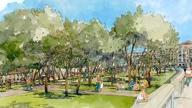 An artist's impression of the new green space.