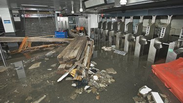 Home sweet home ... Flood damage to the South Ferry station of the No.1 subway line in Lower Manhattan.