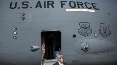 Another airport, another meeting: US Secretary of State John Kerry arrives in Brussels to meet with European Union and NATO officials.