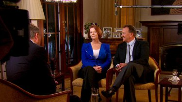 Prime Minister Julia Gillard and Tim Mathieson during their first joint interview on <i>60 Minutes</i>.