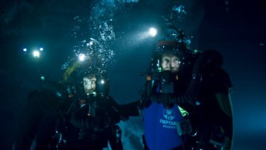 Which way is up again?: Two trapped divers search for an escape route in the Australian underwater 3D adventure Sanctum.