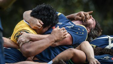 Hair and a facial: Skelton and Douglas were locked in combat before being 'yellow carded' by coach Michael Cheika.