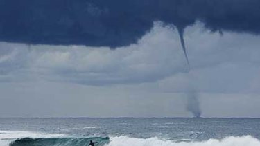 A waterspout off Maroubra Beach in Sydney today.