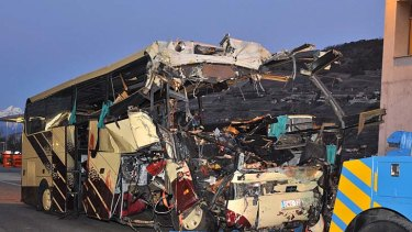 Wreckage ... 28 people died in the bus crash.