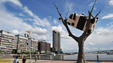 John Kelly's <i>Cow Up a Tree</i> installation, near Melbourne's Docklands.