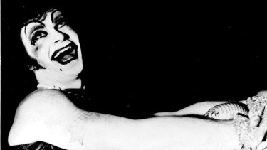 "As Frank N. Furter in <i>The Rocky Horror Show</i> in 1974. ""Reg Livermore is outrageously 'transexual',"" wrote the <em>Sydney Morning Herald</em>."